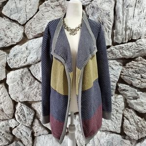 CAbi #467 Color Block Blanket Cardigan Open Front